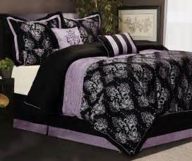 7 piece king size bedding comforter set pleated royal medallion purple black ebay