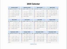 2035 Calendar Blank Printable Calendar Template in PDF