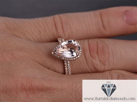 large pear shape morganite engagement ring diamond pave