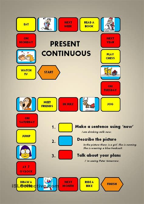 present continuous a boardgame