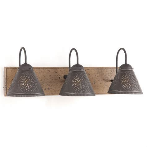 Vanity Light Wood & Metal With Punched Tin Lamp Shades