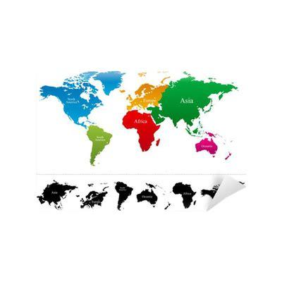 Verdenskort med farverige kontinenter Atlas - Vector ...