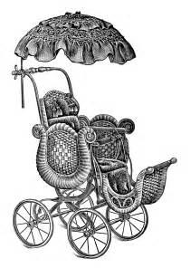 Baby Strollers ~ Free Vintage Clip Art | Old Design Shop Blog