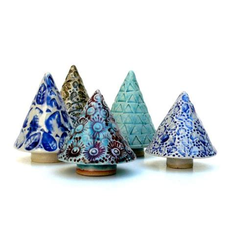 blue and white ceramic tree holiday decor