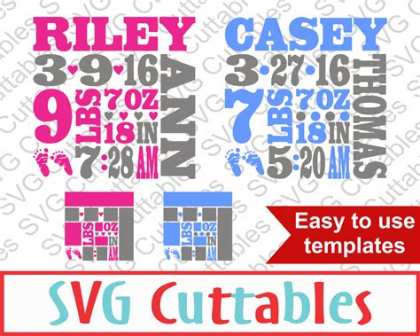 Easily edit text, colors and image size. Baby Birth Announcement SVG DXF EPS Vector Digital Cut