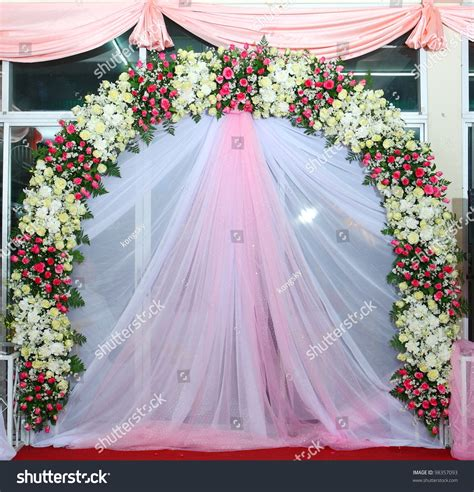Beautiful Backdrop Flowers Over Pink And White Fabric