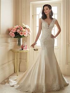 elegant v neckline wedding dresses with lace appliques With satin lace wedding dress