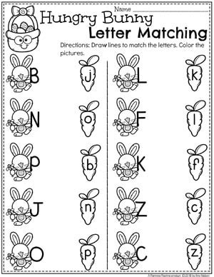 easter worksheets planning playtime 840 | Easter Worksheets for Preschool Hungry Bunny Letter Matching II
