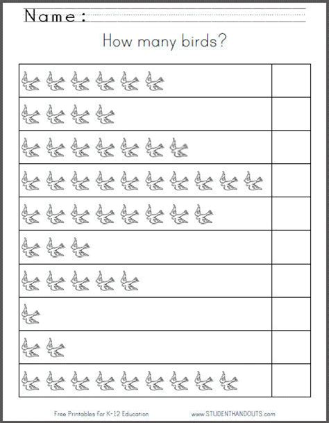 how many birds free counting worksheet student handouts
