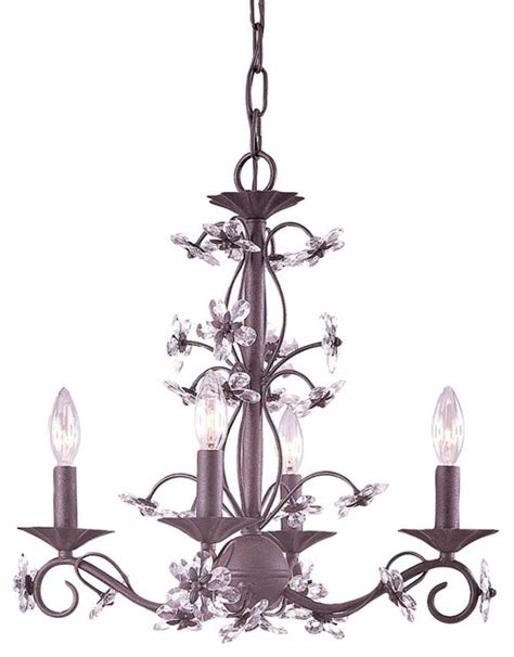 rust wrought iron chandelier with polished