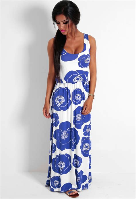 maxi jersey flower blue and white maxi dress dress ty