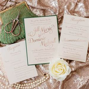 Jill dominics rose gold forest green holiday wedding for Rose gold winter wedding invitations