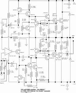 100w rms audio amplifier circuit schematic With high quality mono audio amplifier circuit this amplifier is built on