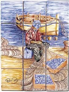 Decoration Murale Exterieur Provencale : carrelage d coration p cheur fresque tableau ~ Nature-et-papiers.com Idées de Décoration