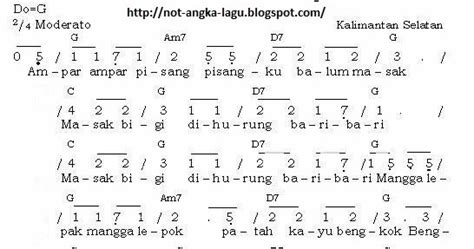 not angka pianika apuse not angka lagu ampar ampar pisang kumpulan not angka lagu