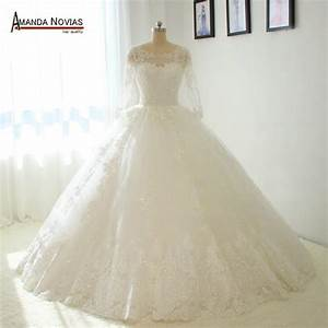 straps long sleeves puffy ball gown wedding dresses no With wedding dress no train