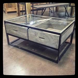 Glass top coffee table with drawers nadeau dallas for Coffee table with drawers and glass top