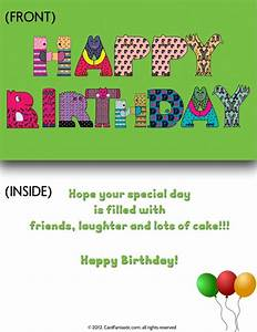 Birthday Cards To Print ZK99 ~ Pineglen