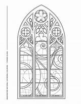 Coloring Window Space Cathedral Pages Stained Glass Windows Sheet sketch template