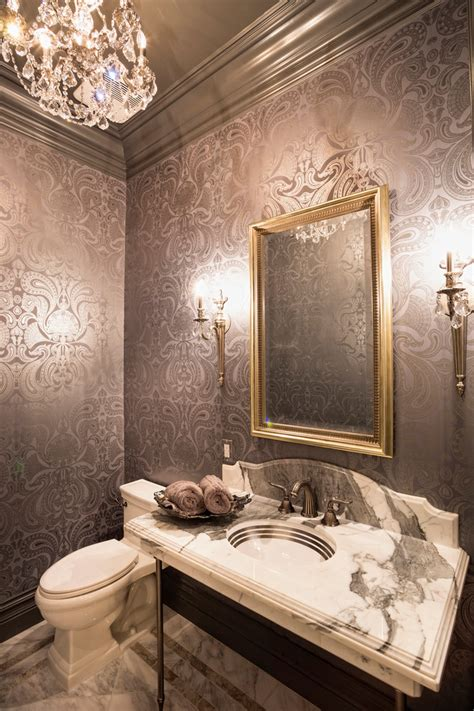 framed bathroom mirrors ideas bright torchiere in powder room with painted