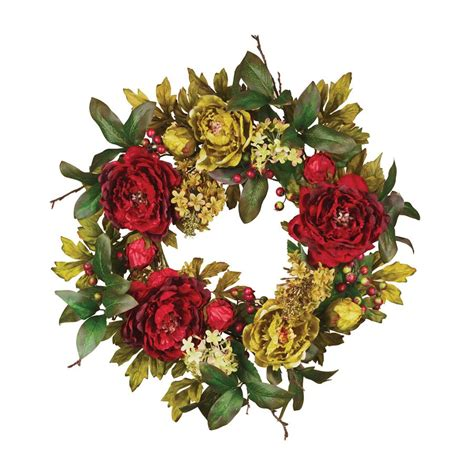 indoor christmas wreaths shop oddity 1 20 in hydrangea indoor outdoor artificial christmas wreath unlit at lowes com