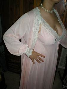 olga pale peach peignoir close up left side a photo on With mature robe