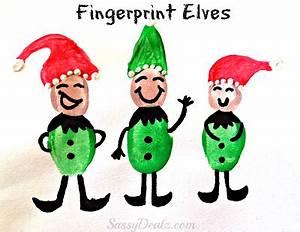 DIY Fingerprint Elf Craft For Kids at Christmas Crafty