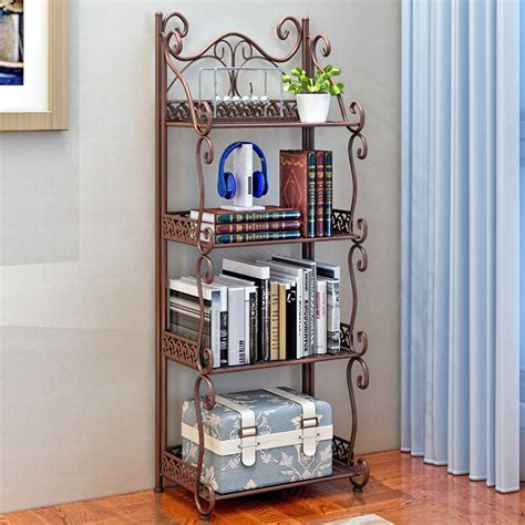 Gently used, vintage, and antique decorative wall shelves. 4-Tier Iron Bookshelf Storage Rack Leaning Wall Shelf ...