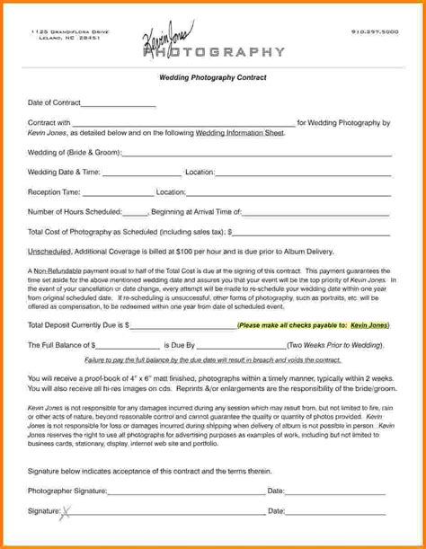 wedding photography contract template card