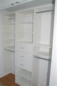 reach in closet with flat panel drawers