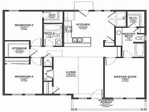 Small 3 bedroom floor plans small 3 bedroom house floor for Small house 3 bedroom floor plans