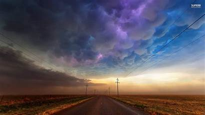 Lonely Road Passing Strom Storm Wallpapers Storms