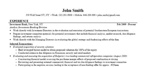 investment banking resume exle of walls
