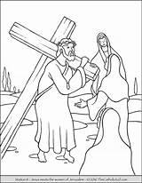 Cross Stations Coloring Jesus Catholic Via Para Da Cruz Thecatholickid Escolha Pasta sketch template