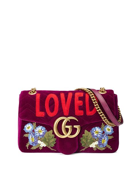 gucci gg marmont small loved shoulder bag fuchsia neiman marcus