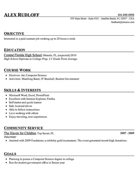 doc 12751650 resume exle for highschool students