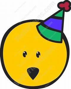 Striped Party Hat Wearing Smiley Face | Stock Cartoon ...