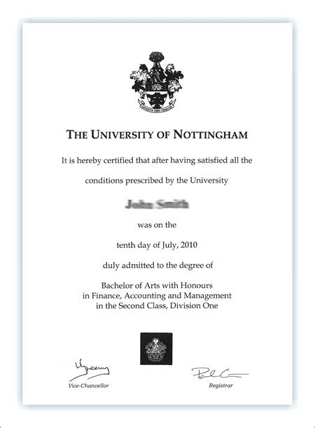 degree certificate  university  nottingham