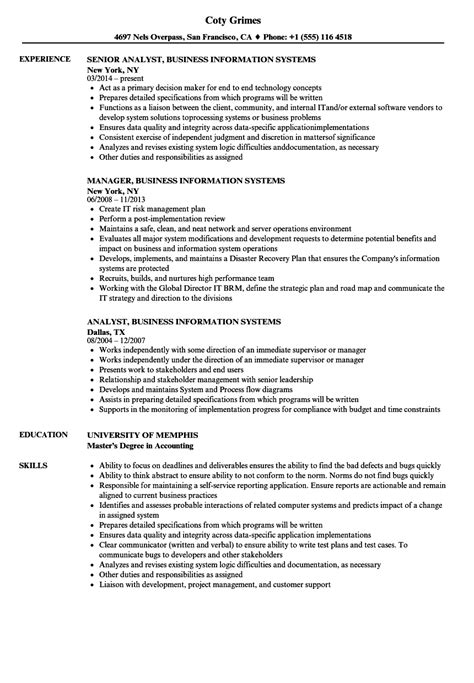 Resume Information by Resume Exles For Information Systems Resume Templates