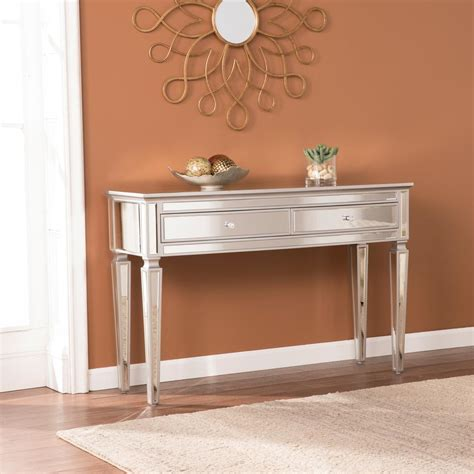 mirror console table southern enterprises chandler silver mirrored console