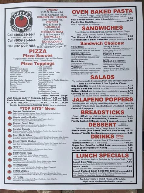 toppers pizza place menu yelp