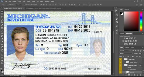 michigan driver license psd template psd template usa