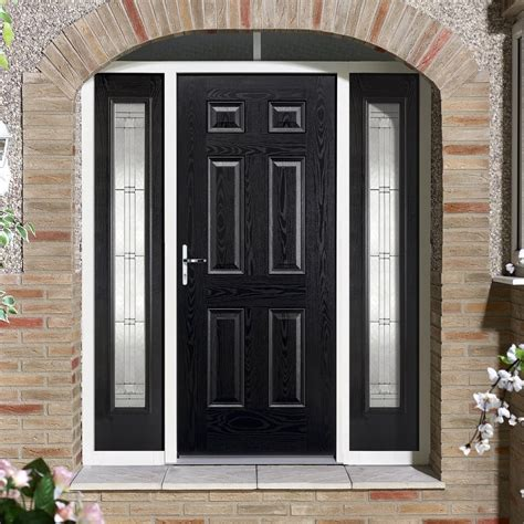 grp black white colonial  panel composite door  leaded sidelig