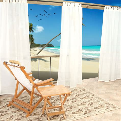 Sheer Patio Curtains Outdoor by Sheer White Weathersmart Outdoor Curtains With Tabs