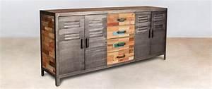 Buffet Bois Recyclé : buffet en bois recycl s 4 tiroirs bois 4 portes m talliques ~ Teatrodelosmanantiales.com Idées de Décoration