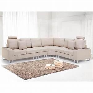 Canapé Tissu Beige : canap d 39 angle canap en tissu beige sofa stockholm achat vente canap sofa divan ~ Dallasstarsshop.com Idées de Décoration