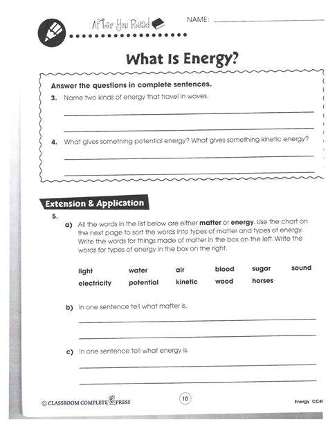 worksheet 4 6 forms of energy answer key potential and kinetic energy worksheet 6th grade