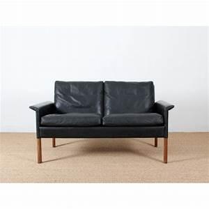 canape 2 places en cuir noir modele 500 galerie mobler With nettoyage tapis avec renovation de canapé en cuir