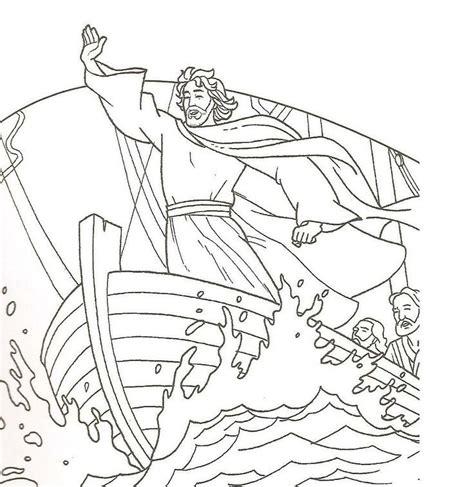 jesus calms  storm coloring pages coloring home