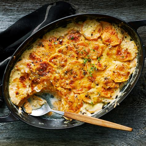sweet potato sides recipes sweet potato and gouda gratin recipe myrecipes